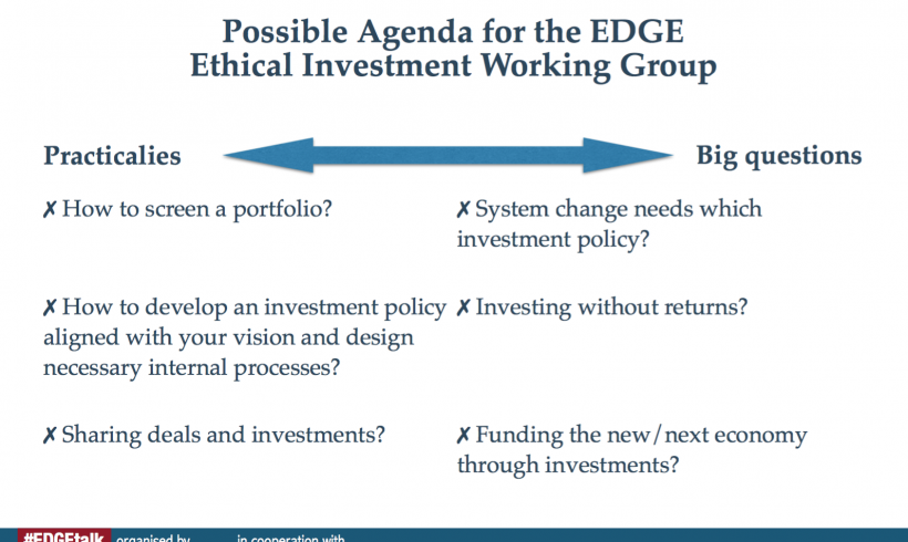 The future of EDGE's work on ethical investment