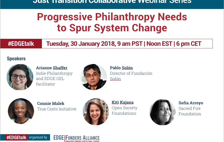 Just Transition Collaborative webinar: Progressive Philanthropy Needs to Spur System Change